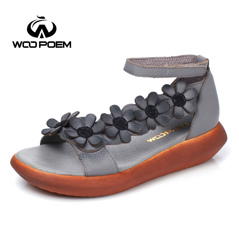 WooPoem Summer Shoes Woman Genuine Leather Sandals Women Med Heel Wedges Retro Flower Sandale Femme Shoes Back Strap WH991 symptoms of chronic rhinitis laser therapy apparatus lllt severe rhinitis