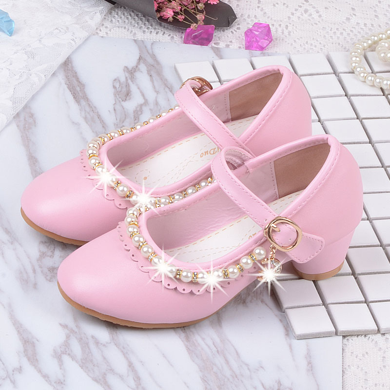 2018 new childrens elegant princess sandals childrens girls PU shoes high heels dress party girl pink white beaded shoes