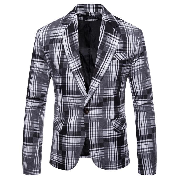 Plaid Blazer For Men Plaid Suit Slim Fit Casual Mens Blazers Men Suit Jacket Black Yellow Blue