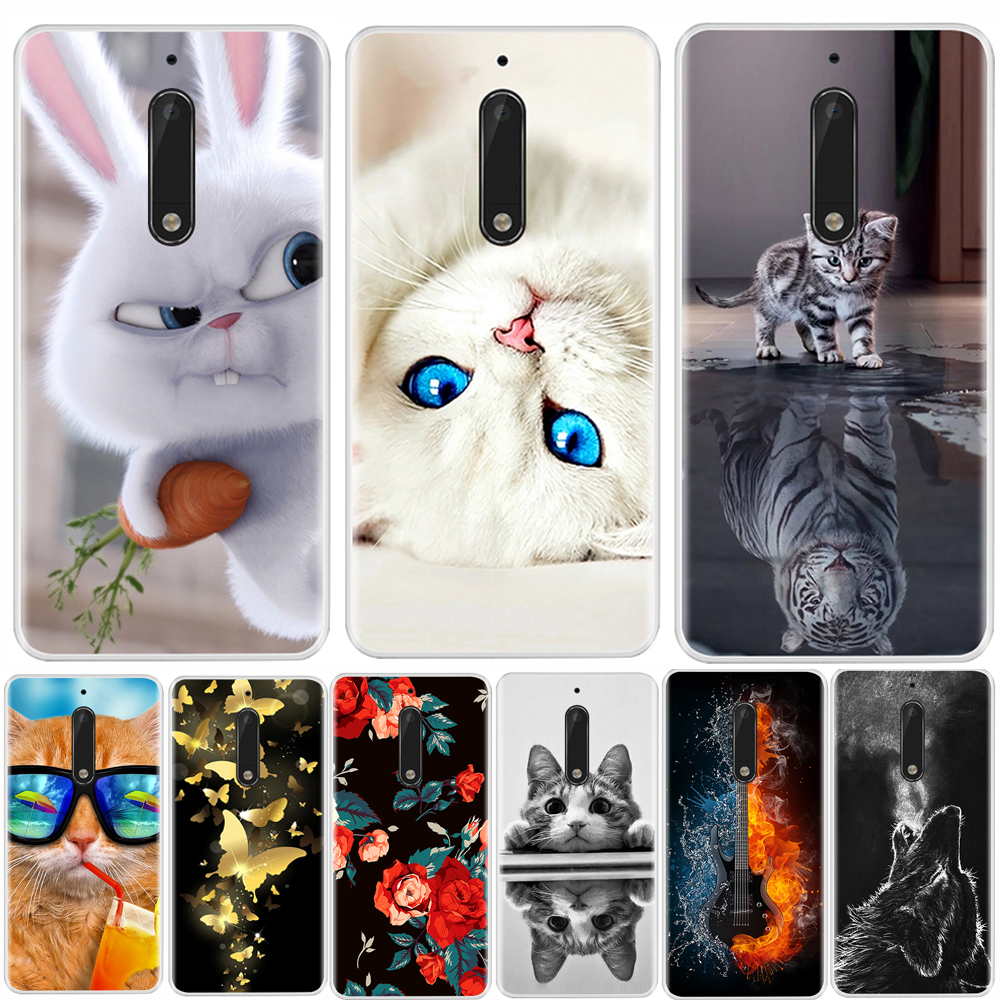Phone Case  For Nokia 3 5 6 8 Soft Silicone TPU Ultra Thin Flower Floral Painted Back Cover For Nokia 3 5 6 8  Case