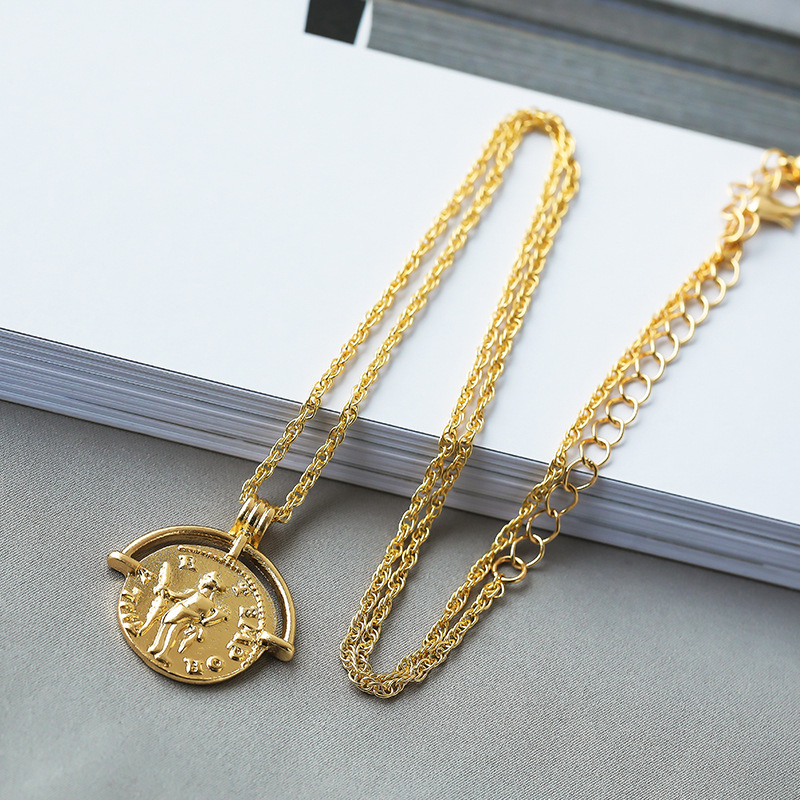 Vintage Carved Coin Necklace For Women Fashion Gold Silver Color Medallion Necklace Trendy Pendant Long Necklaces Boho Jewelry (9)
