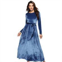 2019 Winter Party Office Dress for Women Solid Long Sleeve Blue Vintage Vestidos Velvet Sashes Dresses 2XL