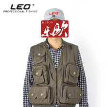 LEO L-XXXL Large Capacity Jacket Vest Multi Functional Outdoor Fishing Photography Gear Clothing Army Green Water-Proof Tools