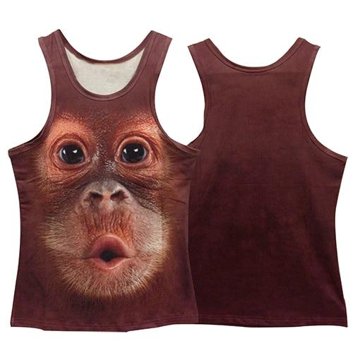 New Arrival Men Summer Fashion Slim Vest 3D Monkey Animal Pattern Print Sleeveless O-Neck   Top