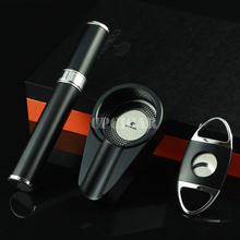 Cohiba Cigarette Ashtray Portable Cigar Tube Dual Blades Sharp Cigar Cutter Set Christmas Gift CP Cigar Ash Tray Free Shipping