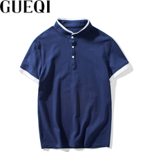 GUEQI Men Summer White Polo Shirts Plus Size M-3XL Edge Patchwork Stand Color Tees Man Breathable Cotton Tops