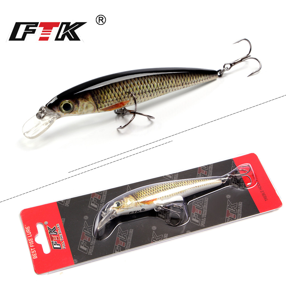 FTK 1pc Minnow Fishing Lure Laser Hard Artificial Bait 12g/100mm Fishing Wobblers Crankbait Minnows 3D Eyes Fishing Tackle