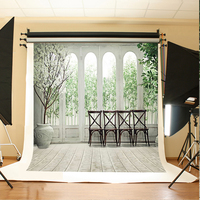 Wedding Photography Background Flowers Tree Bamboo Fond Photo Black Chairs Wooden Floor Background For Photographic Studio