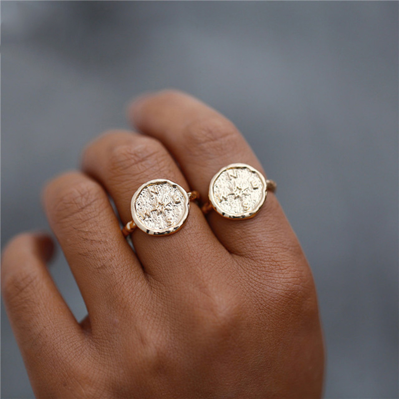 Bohemian Compass Coin Round Rings For Women Big Gold Silver Color Geometric Vintage Rings Friendship Jewelry Boho in Rings from Jewelry Accessories