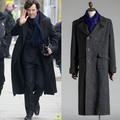 Free Shipping Cosplay Costume Sherlock Holmes Men Winter Warm Cape Coat Outfit