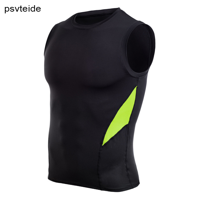 Buy men's sports tank top gym T-shirt sleeveless tops compression vests running shirt elastic vest slim top exercises activewear man for only 13.99 USD