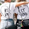 Best Friends Loving Printed 2016 Summer Style Women T-shirt Kawaii Tumblr Funny Female Tops Clothes Free Shipping