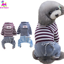 Купить с кэшбэком Teddy Chihuahua Dog Clothes New Spring Summer Dogs Costume Cotton Breathable Pet Four Legs Coat Stripe Hoodies Size S M L XL XXL