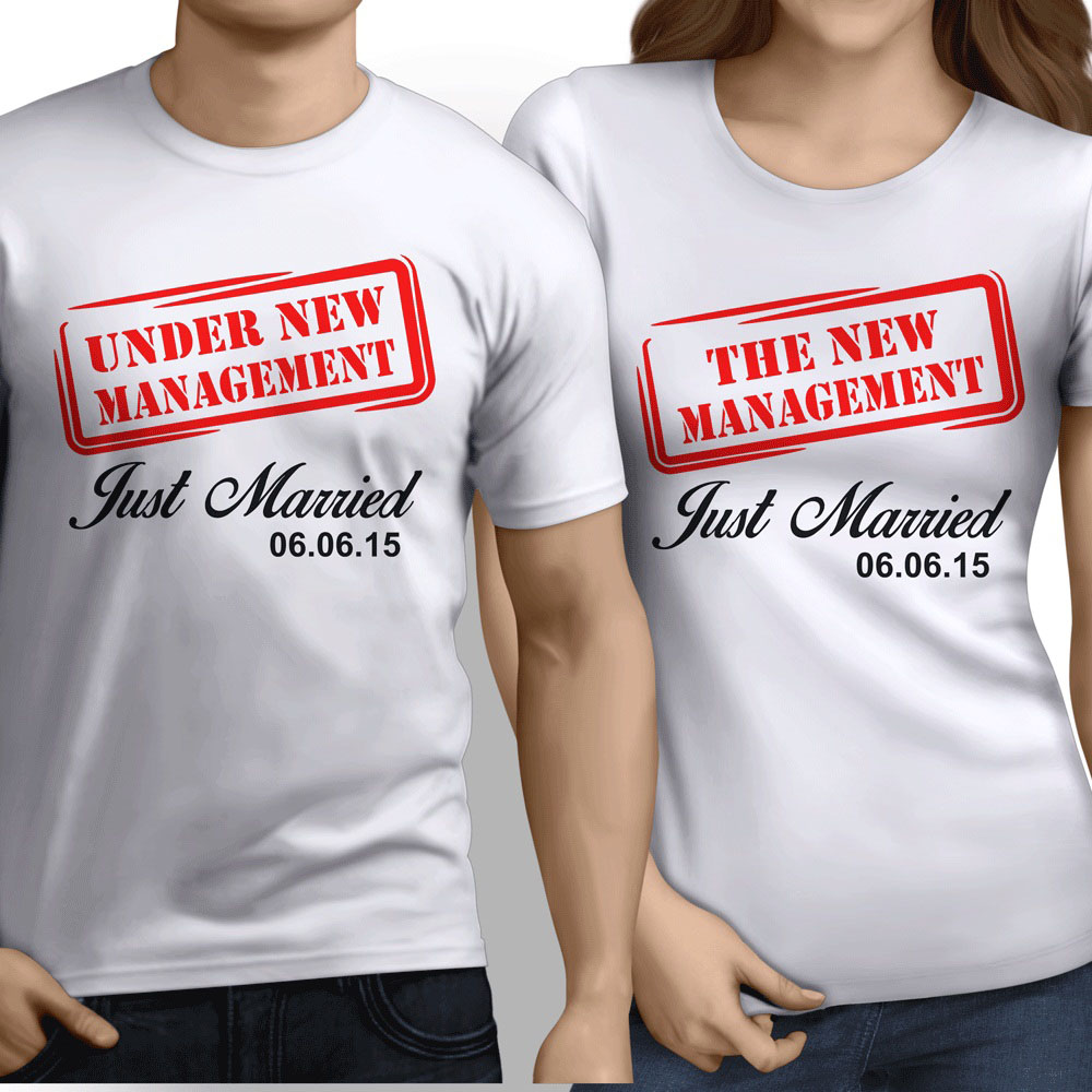 2018 Fashion Hot Sale UNDER NEW MANAGEMENT Personalised Couple T Shirts Husband Wife GR8 Wedding Gift Tee shirt