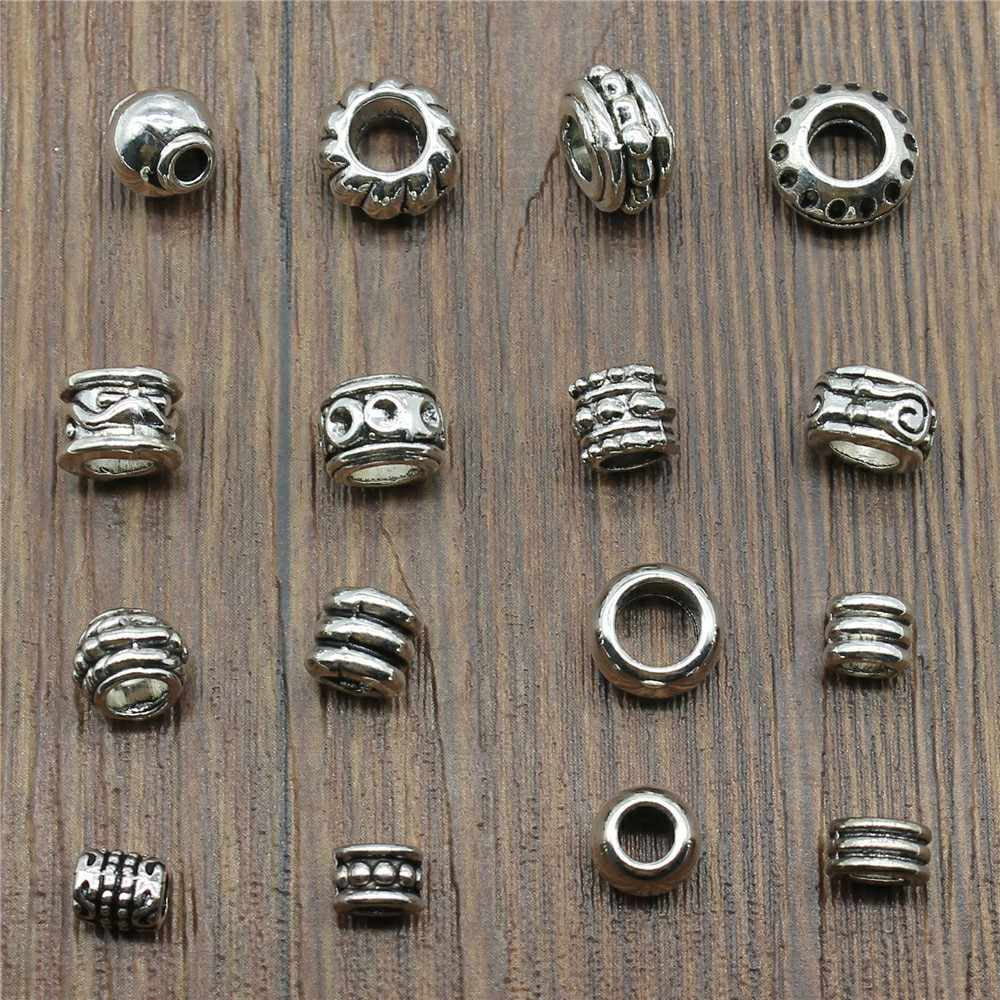 40pcs Vintage Antique Silver Color European Big Hole Beads Spacer Beads Charm Pendants For Jewelry Making Diy