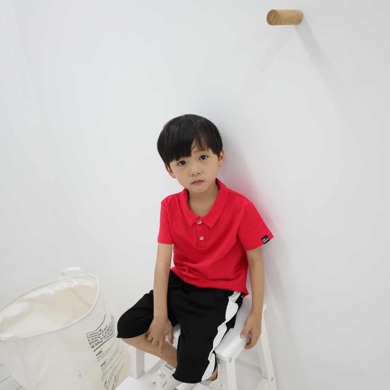 วันเกิด tee INS ฤดูร้อนแขนสั้นเสื้อโปโลเด็ก lapel ลำลองเสื้อยืดชายหญิงเด็กเสื้อผ้า