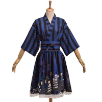 Girls Japanese Lolita Striped Kimono Jacket Coat Top Ghost Pattern Print Skirt With Waistbelt