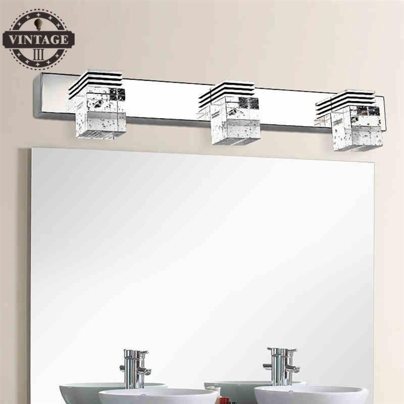 Vintagelll3-Light Crystal Bathroom Light Fixtures Led 9W Waterproof Bath Wall Sconces Light Aluminum Wall Lamp Bathroom Lighting
