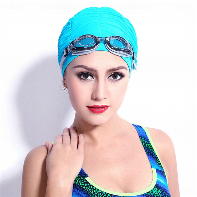 Long Hair Cover Pleated Cloth Swimming Bathing Caps
