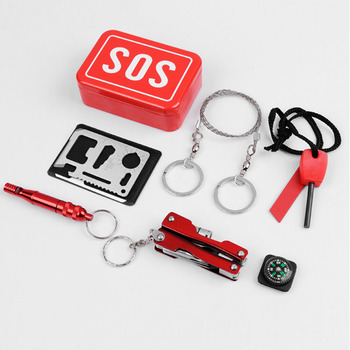 Emergency Camping box self-help SOS survival kit Equipment for Camping Hiking saw whistle compass tools 4