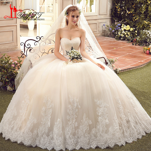 Vestido De Novia Vintage Ball Gown Wedding Dresses 2017 Plus Size Sweetheart Lace Liques Tulle Bridal