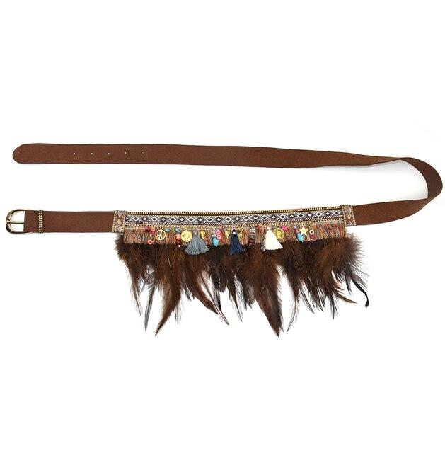 2017 new fashion belt for women Gypsy hippie Bohemian leather belt cummerbund for women handmade feather tassel flower belt