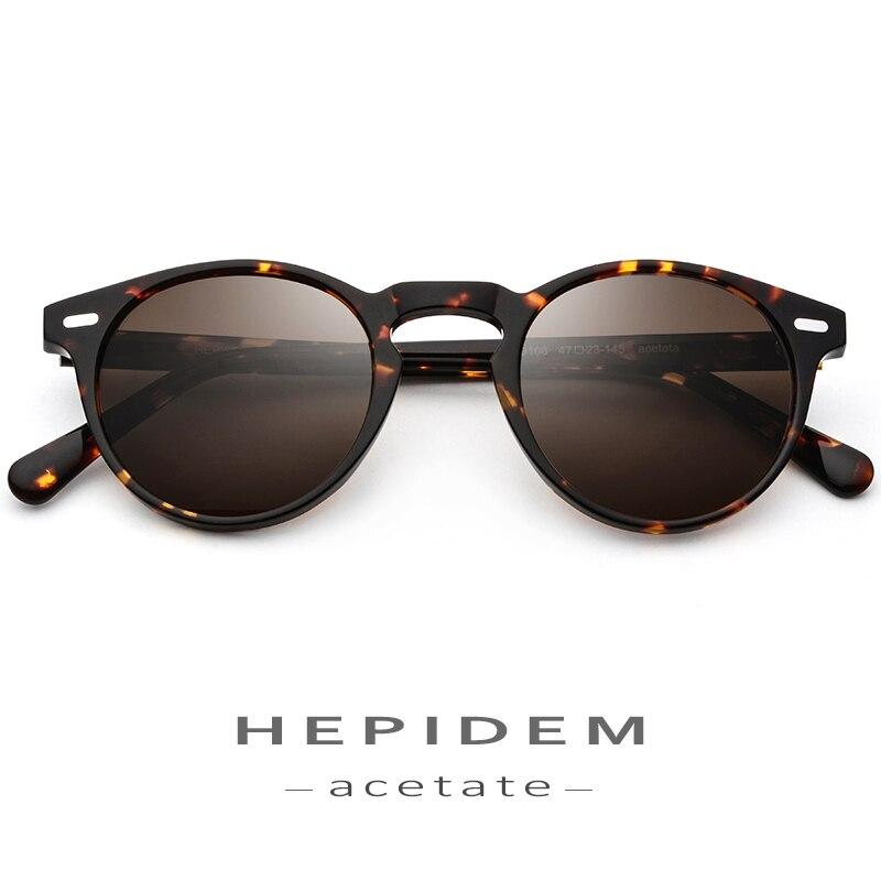 Acetato de Óculos Polarizados Homens de Alta Qualidade Da Moda Do Vintage Retro Rodada Óculos de Sol para As Mulheres Óculos de Design Da Marca de Óculos De Sol