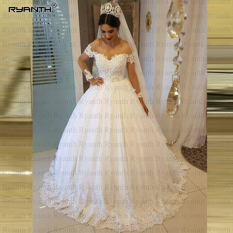 Robe de mariage Sexy Off The Shoulder Lace Ball Gown Wedding Dress 2019 Cheap Lace Up