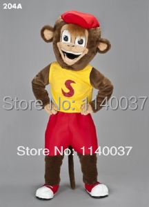 Popular Brand Vibrant Brown Kung Fu Panda Monkey Baby Small Little Monkey Mascot Costume Cartoon Character Mascotte Adult No.9562 Free Ship Costumes & Accessories Novelty & Special Use