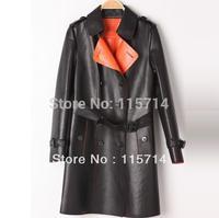 Free Shipping 2013 New Spring Autumn Long Stylish Women Genuine Sheepskin Leather Jacket Down Coat