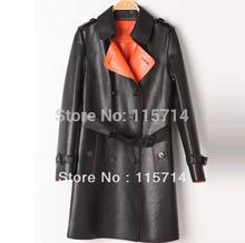 Top Quality! New Arrival 2014 Autumn  Winter Women Luxury Real Geniune Leather Trench Coat 100%Sheepskin Leather Long Coat