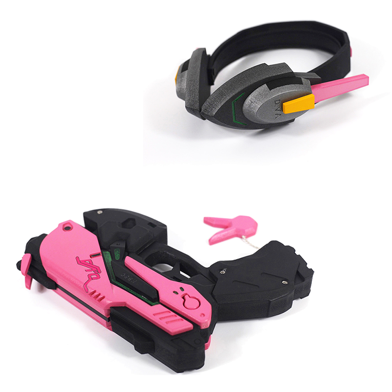 D.va Gun And Headset For Cosplay Pvc Pink D Va Gun Dva Headset Dva Earphone For Exhibition Novelty & Special Use