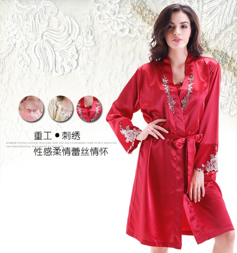 Red Satin Silk Robes and Silk Nightgown Sets for Women Front View