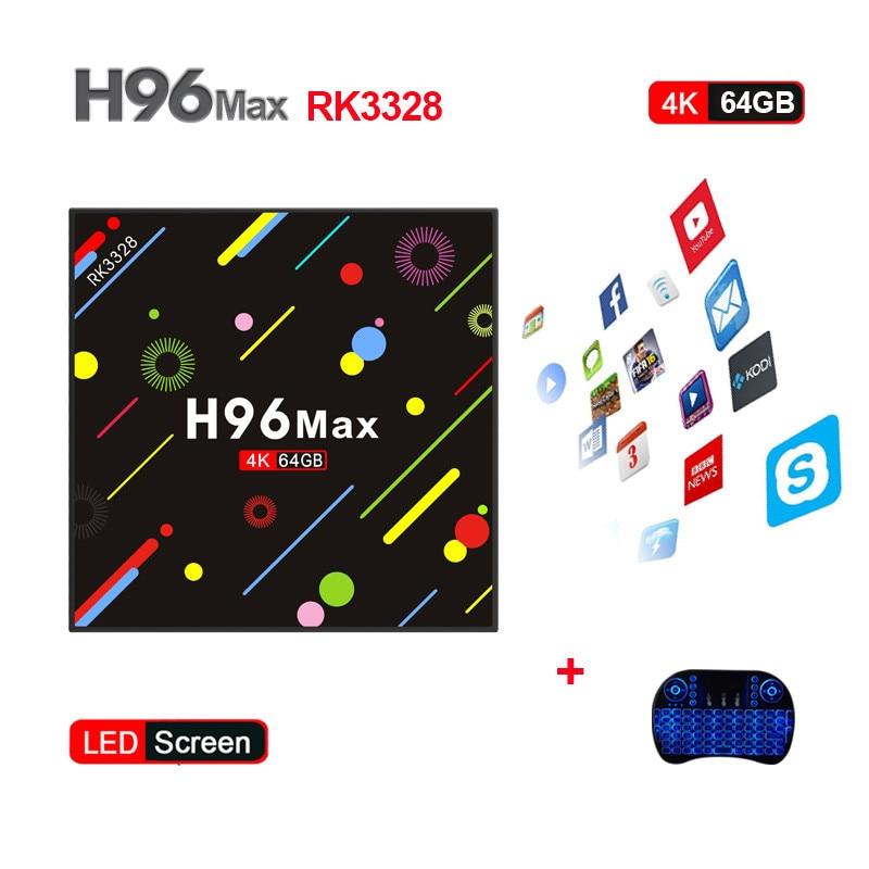 New Hot H96 MAX H2 Android 7.1 Smart TV Box RK3328 Quad Core 4GB/64GB 4K VP9 HDR10 WiFi Bluetooth 4.0 Media Player PK X92 TX9PRO