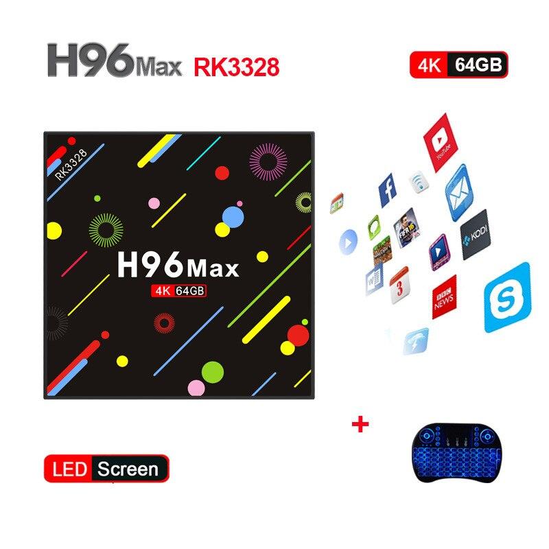 New Hot H96 MAX H2 TV Box Android 7.1 4GB 64GB RK3328 Quad Core 4K VP9 HDR10 WiFi Bluetooth 4.0 Media Player PK X92 TX9 PRO