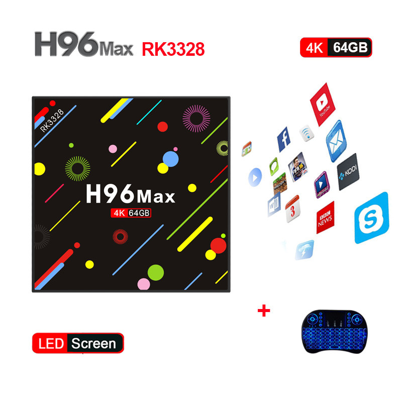 New Hot H96 MAX H2 TV Box Android 7.1 RK3328 Quad Core 4 gb/64 gb 4 k VP9 HDR10 WiFi Bluetooth 4.0 Media Player PK X92 T9 H96PRO