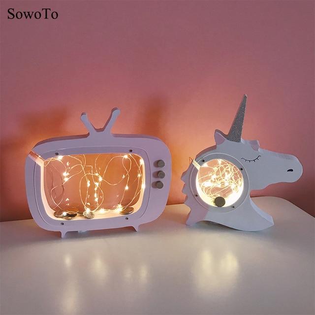 Mignon Woody Licorne Nuit Animaux Lumière Guirlande Lumineuse Chapiteau LED  Lampe Pour Chambre Bébé Décor Enfants