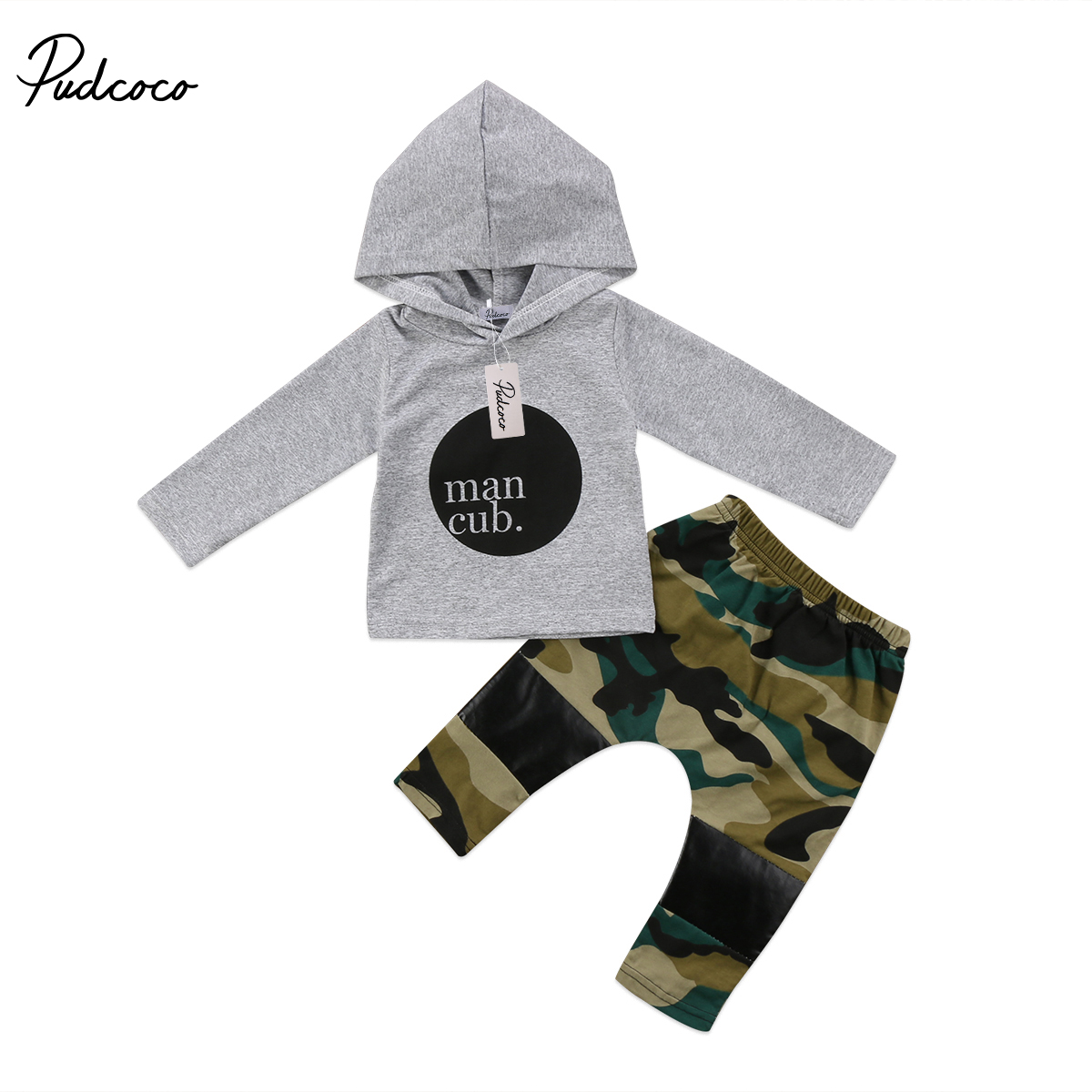 Pudcoco 2PCS Toddler Newborn Baby Kids Boy Camouflage Hooded Clothing Sets Sweatshirt Tops+Pants 2Pcs Outfits Clothes pudcoco fashion baby sets newborn toddler baby boy girl camo t shirt tops pants outfits clothes set 0 24m