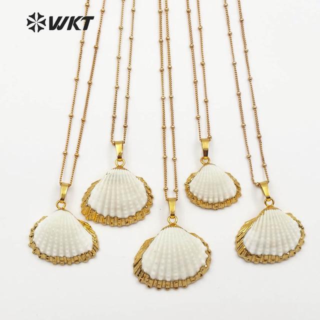 1415acac7598 WT-JN014 último diseño Vieira Shell collar natural Vieira colgante shell 18  pulgadas cadena de
