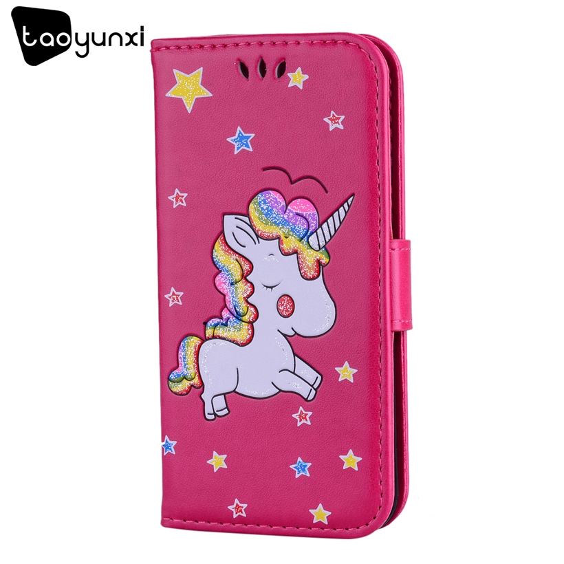 TAOYUNXI Phone Cases For Apple iPhone 7 7G Case For IPhone 8 iPhone8 Unicorn Pattern Soft TPU Phone Bag PU Leather Covers