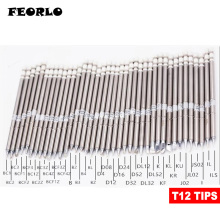FEORLO 1pcs soldering tips T12 for HAKKO T12-ILS D24 D08 I IL K KU Solder Iron Tips soldering welding stings shape k series t12 kf t12 k t12 kr t12 ku t12 iron tip for fx951 stc and stm32 oled soldering