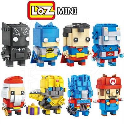 4 стиля 2-в-1 Loz Конструктор Мини Конструкторы модель Супермен Бэтмен Джокер Железный человек Дэдпул Развивающие игрушки для детей с коробкой