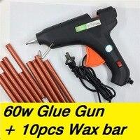 60W Hot Melt Glue Gun 10pcs Sealing Wax Stick Bar 100 240V Electric Heat Temperature Tool