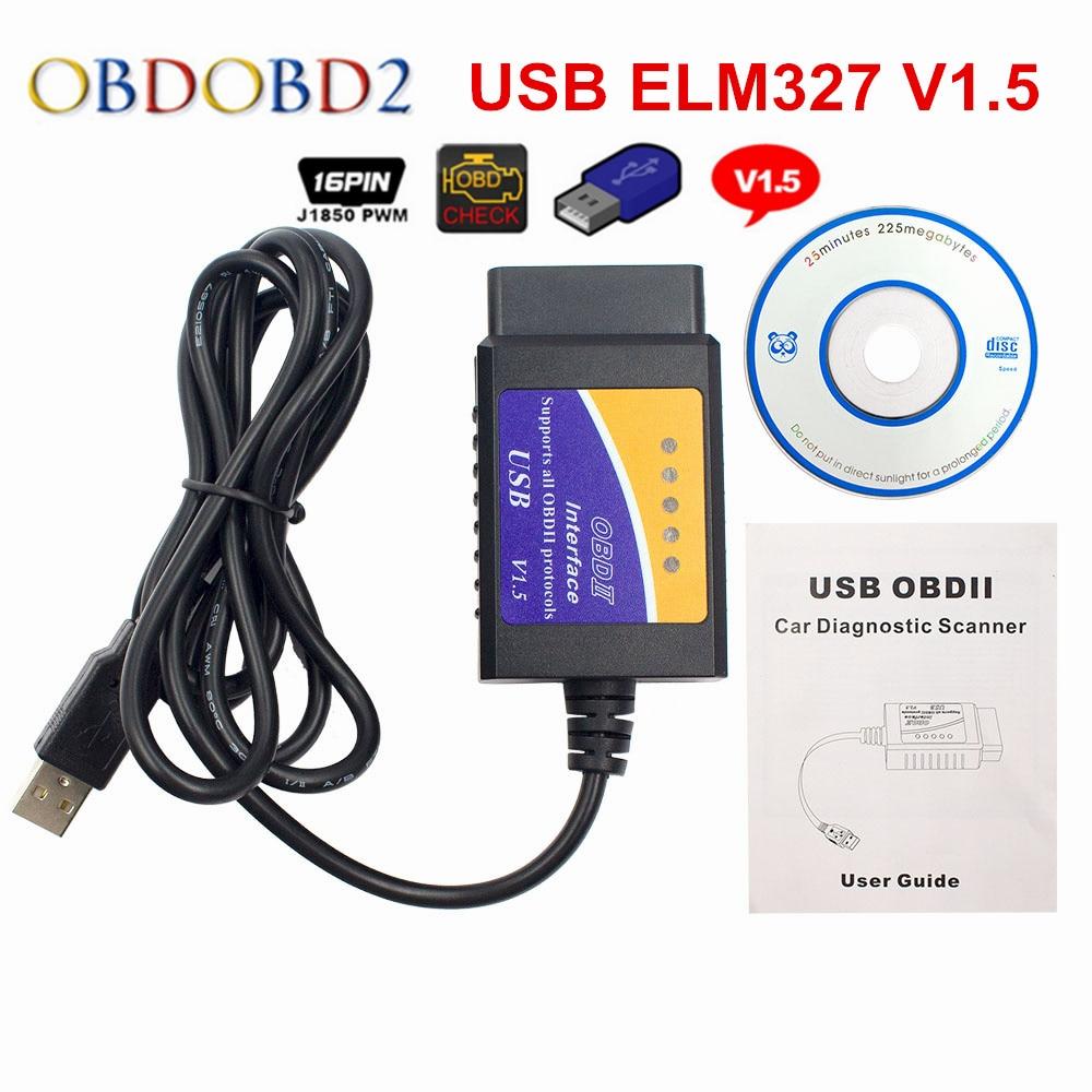 Venta caliente ELM327 1,5 USB Cable de diagnóstico ELM 327 V1.5 USB Auto escáner lector de código OBD2 protocolos para Windows 7 8 XP