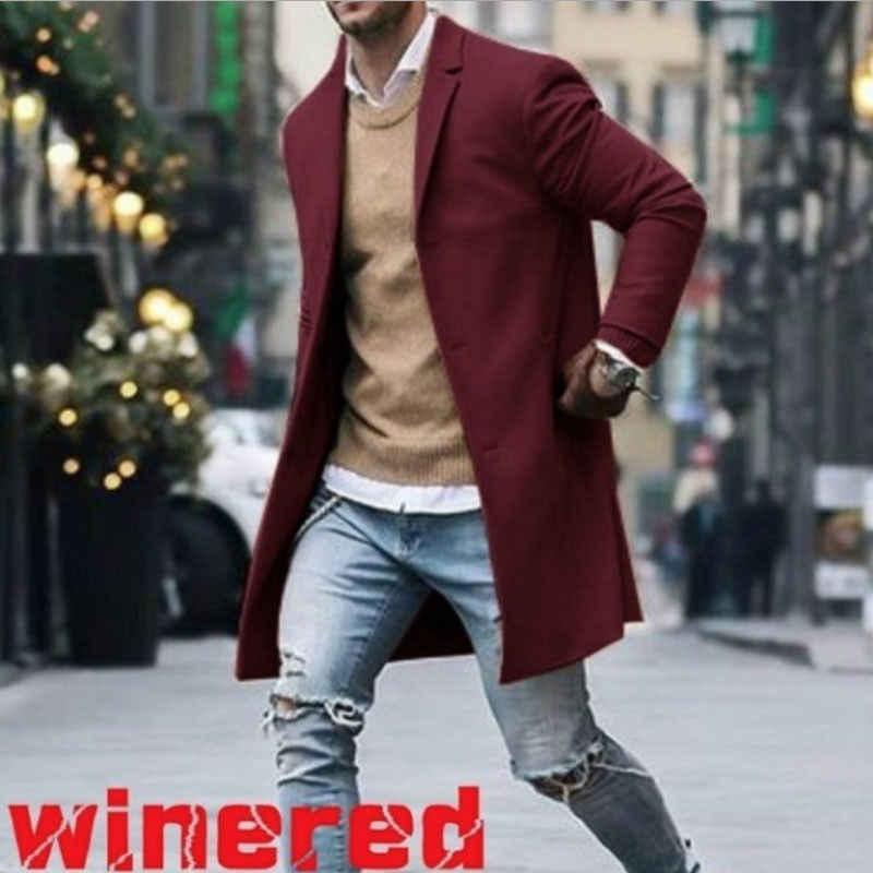 新到着カジュアル冬のファッションの男性スリムフィット長袖カーディガンブレンドコートジャケットスーツ固体メンズロングウールコート