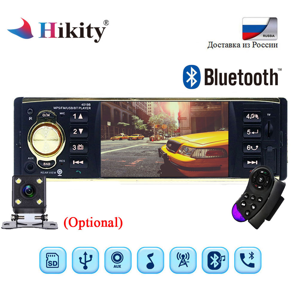 Hikity 1Din MP3 player Car Radio Audio Stereo USB AUX FM Radio Station Bluetooth FM with Remote Control Support Rearview Camera fm stereo radio multimedia speaker classical handmade bamboo radio station mucis player portable radio fm remote control y4113o