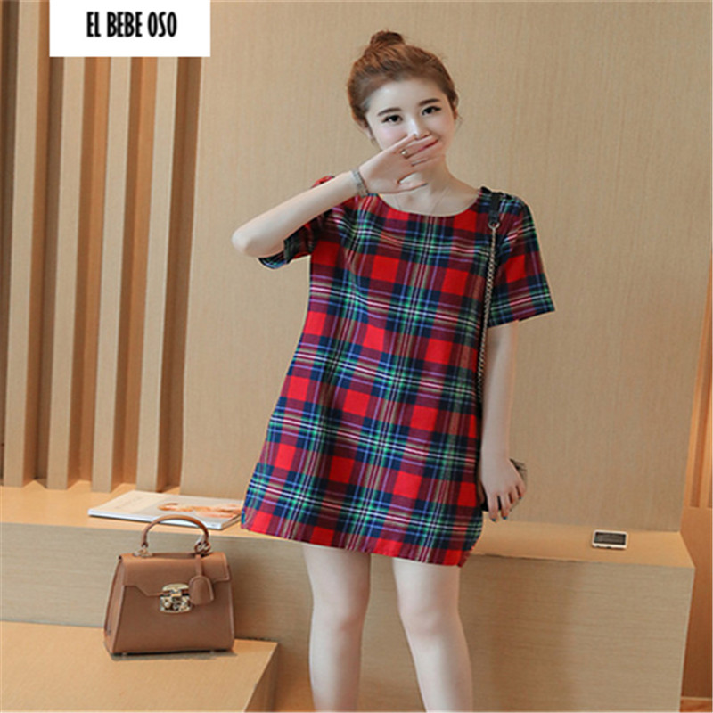 EL BEBE OSO Summer Cotton Maternity Dresses Plaid Short Sleeve Dress Comfort Clothes For Pregnant Women Formal Outfit Plus Size