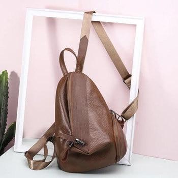 3acce8fbe924 Простой Стиль Для женщин рюкзак высокое качество Молодежные кожаные рюкзаки  для девочек-подростков Женский школьная сумка рюкзак mochila