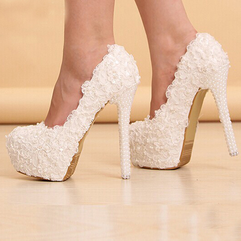Newest White Beautiful Vogue Lace Flowers Pearl High Heels Wedding ...