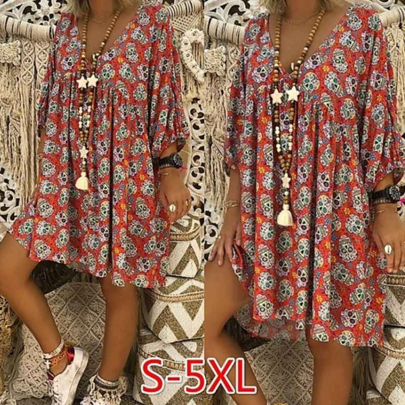 Women V-Neck 3/4 Sleeves Loose Flowy T-Shirt Dress Halloween Skull Floral Casual Flared Party Tunic Sundress Plus Size S-5XL